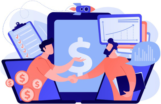Demand analysts shaking hands from laptops screens and planning future demand. demand planning, demand analytics, digital sales forecast concept illustration Free Vector